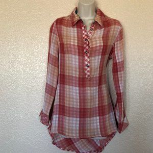 Soft Surroundings Red Plaid Button Up Shirt XS New